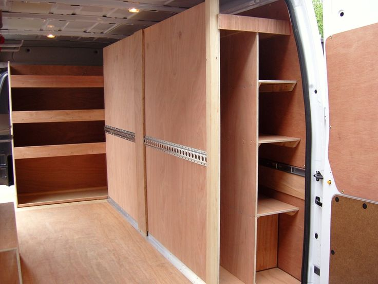Transit LWB MR   Offside Shelving With Storage For Conduit. Front Face To  Strap Gyproc