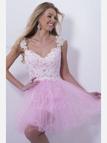 Straps Tulle Beaded Short Homecoming Dress With Flower