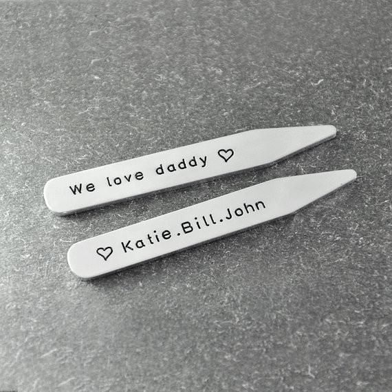 Free shipping - Father's Day gift , Custom Collar Stays for dad, Kids Names Personalized, shirt stays , alloy collar stays