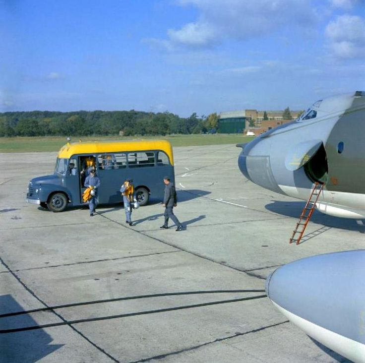 A view of a Vickers Valiant B(K).1 aircraft of No 49 Squadron undergoing preparations for a flight at its base of RAF Wittering, Cambridgeshire.