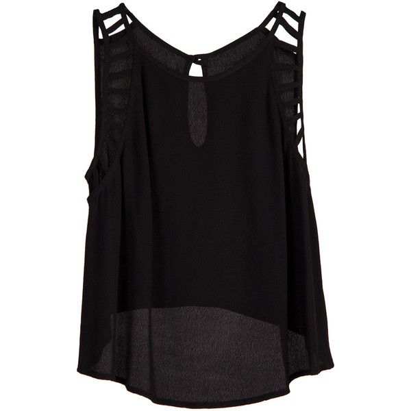 Lush Clothing Cutout Detailed Sleeveless Top Black ($28) ❤ liked on Polyvore featuring tops, shirts, tank tops, tanks, sleeveless tops, sleeveless tank, black sleeveless tank top, black shirt and cut out shirts