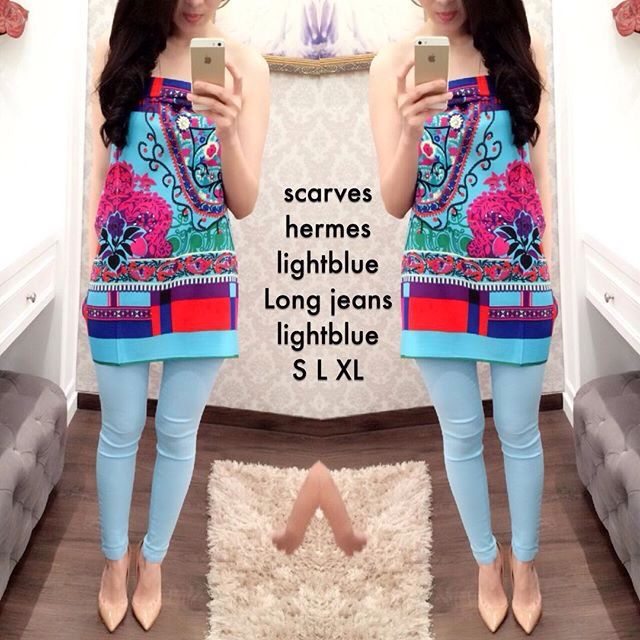 Hermes scarves mix long jeans  Ready stock.. Contact us for detail and order