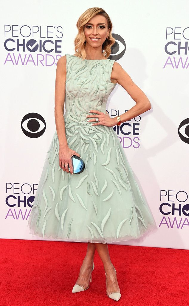 Giuliana Rancic from 2015 People's Choice Awards Red Carpet Arrivals  Stunning! The E! News co-host is perfectly charming in a soft mint Tony Ward Couture frock with a delicate tulle skirt.