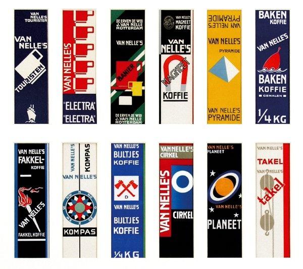 Van Nelle's koffie labels, Design Jac. Jongert, 1930