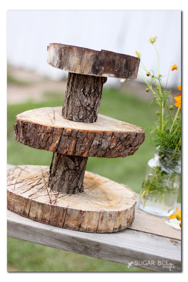 how to make a rustic wood cupcake stand