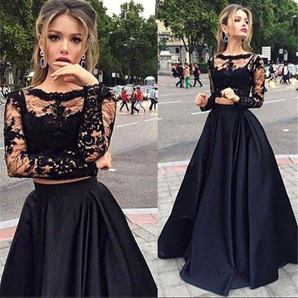2 piece prom dresses lace long