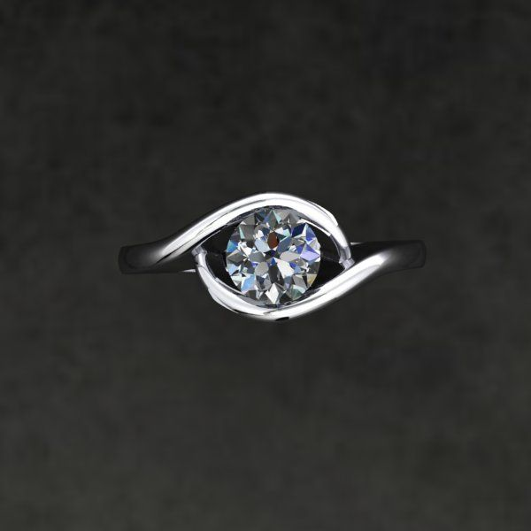 Engagement Ring with diamond centre Style: Simple Asymmetrical Bypass