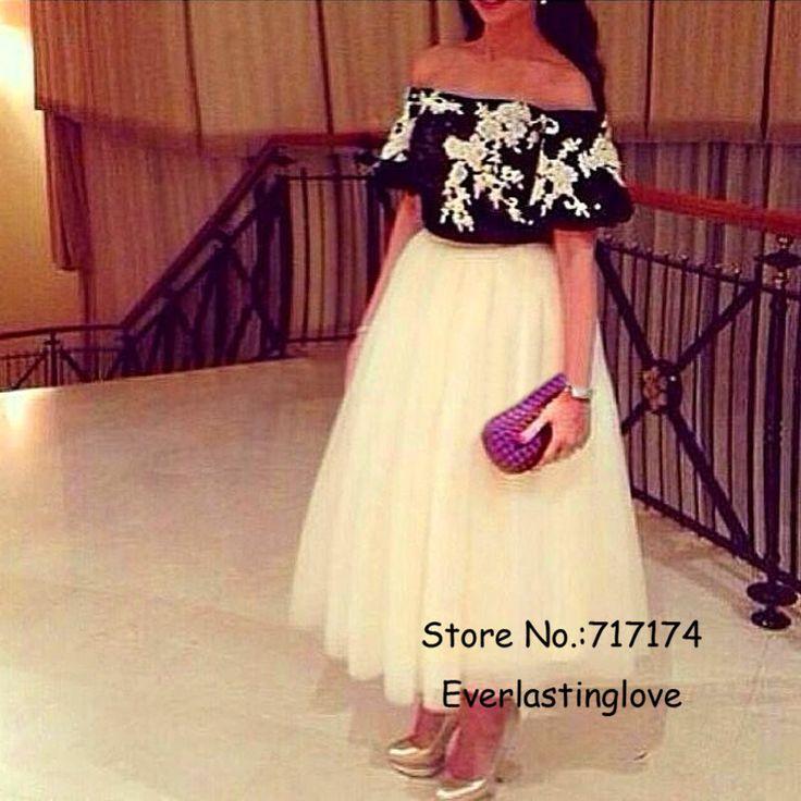 Мода С Плеча Черно-Белые Кружевные Аппликации Тюль Голеностопного Длина С Коротким Рукавом Летние Вечерние Платья Sexy Party Платье