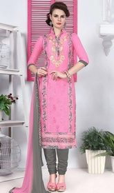 Pink Color Cotton Embroidered Churidar Kameez #churidar #churidardress Spell style dressed in this pink color cotton embroidered churidar kameez. The floral patch and resham work seems chic and great for any occasion.  USD $ 73 (Around £ 50 & Euro 55)