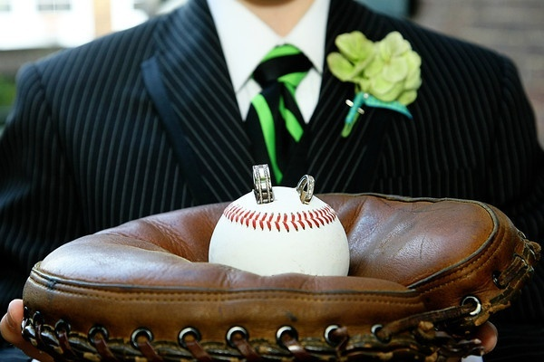 A ringbearers pillow made out of baseball glove material! Would you use this design if you were ever to have a baseball themed wedding at Alliance Bank Stadium home of the Syracuse Chiefs!