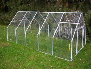 PVC Henhouse:  A simple henhouse, constructed of a PVC frame, with chicken wire laid over top. - FORMUFIT.com