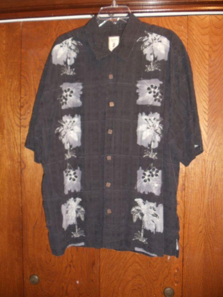 Jamaica Jaxx Black Havana Island Style Mens Silk Shirt XXL Hawaiian Tropical #JamaicaJaxx #Hawaiian