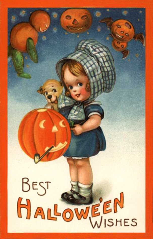 Halloween girl with puppy and pumpkins for card. *For more pictures go to my Halloween board or search Vintage Halloween.*