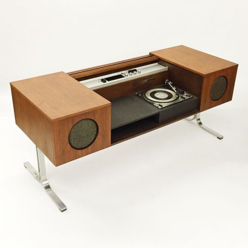 84andahalf:  'Circa 75' model 701 stereo designed in 1967 by Gordon Duern for Electrohome, Canada. Walnut and aluminum construction. Featured on p.106 of Design in Canada.
