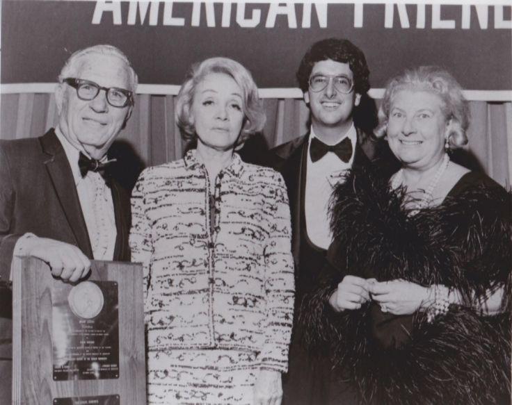 Israel Demchick, Marlene Dietrich, Joshua Ellis, Selma Ellis. At American Friends of Hebrew University event, Philadelphia, October 2, 1971