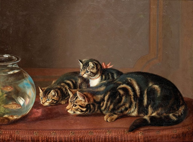 Horatio Henry Couldery Cats by a Fishbowl Poisson