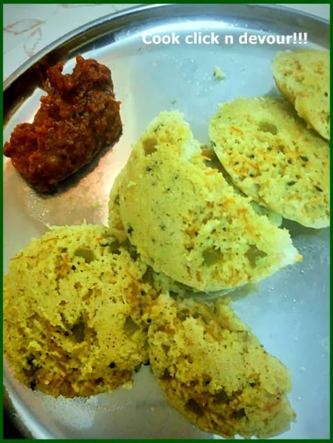 Vegetable idli recipe: Quick and easy to make delicious and healthy vegetable idli,colorful idli for kids and toddlers,recipe @ http://cookclickndevour.com/2013/12/vegetable-idli.html