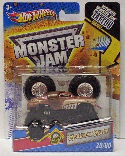 2011 Hot Wheels Monster Jam #20/80 Travel Treads MONSTER MUTT 1/64 Scale Collectible Truck with Monster Jam TATTOO by Mattel. $9.91. Diecast body. Wearable tattoo. Crush the Competition with this 1:64 scale Hot Wheels truck! Die cast body and chassis mega monster tires & 4-wheel turning action. Let the dirt fly with these ground-poundin Hot Wheels Monster Trucks. Rev up for total domination and destruction on the Monster Jam circuit. It's unstoppable, in-your face Monster Jam...