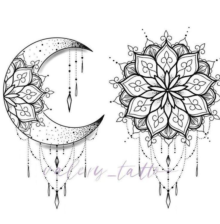 Moon Tattoo Designs – SkillOfKing.Com #flowertattoos – Mandala design