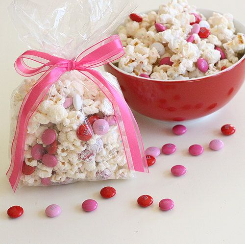 Valentine's Day Popcorn Treat Bags, Valentine's Day Chocolate Drizzled Popcorn Favor Bags - 1 dozen