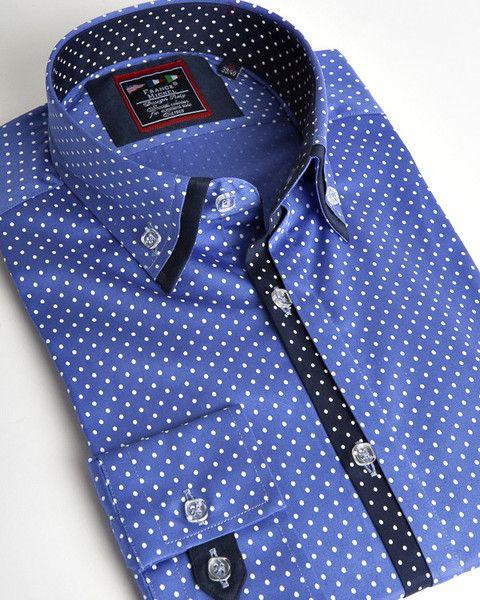 Blue Polka dot double collar shirt