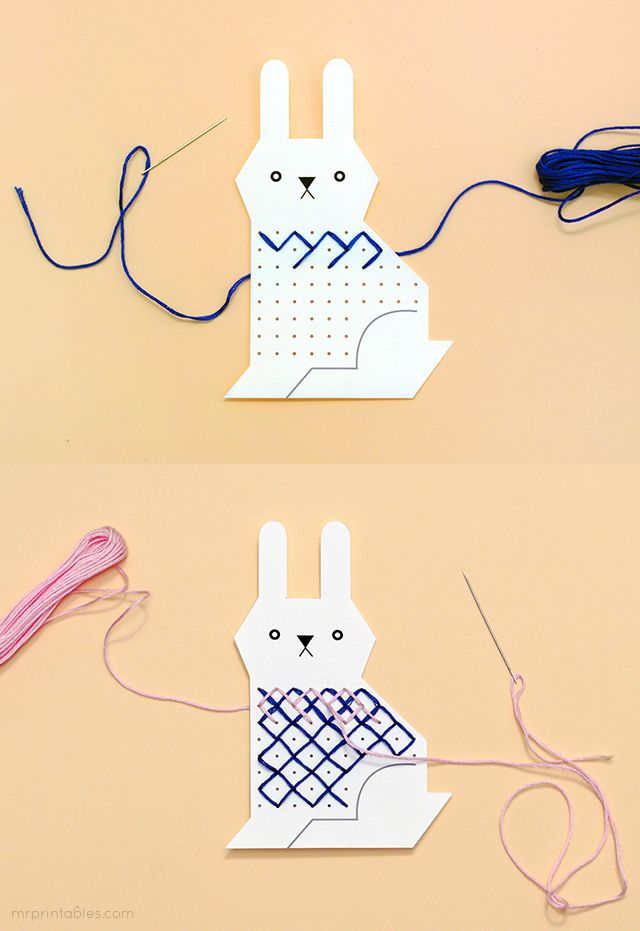 Bunny cross stitch card template / Mr Printables