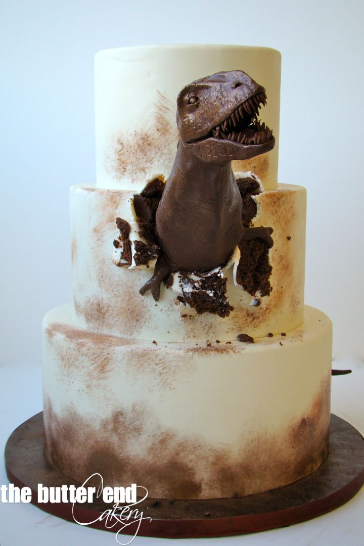 T-Rex cake by The Butter End Cakery, Santa Monica, CA - For all your cake decorating supplies, please visit craftcompany.co.uk                                                                                                                                                      Mais