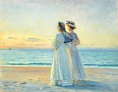 Michael Ancher: Pigerne på stranden. Michael Ancher, b. Bornholm 1849, d. Skagen 1927