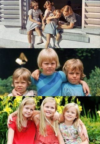 Dutch siblings through the years-top: Princesses Margriet, Irene, Christina and Beatrix circa 1940s; Princes Constantijn, Willem-Alexander, and Friso circa 1970s; Princesses Alexia, Amalia and Ariane, 2013