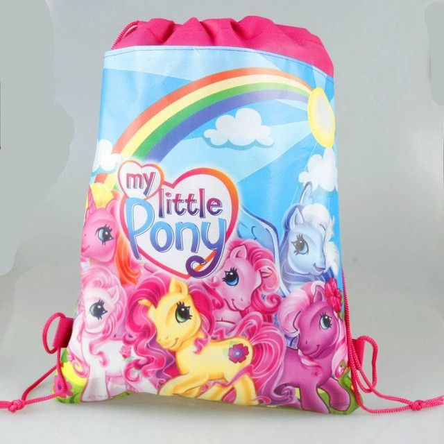 1pcs my little pony cartoon non-woven fabrics drawstring backpack,schoolbag,shopping bag