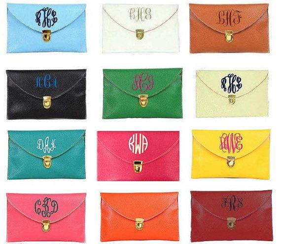 Monogramme embrayage sac à main broderie mariée demoiselle d'honneur demoiselle d'honneur cadeau Crossbody Bag Purse Envelop