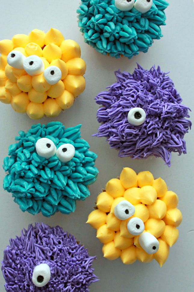Bake Fuzzy Monster Cupcakes for a sweet Halloween treat.