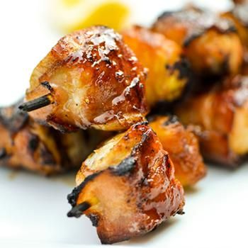 Bacon Wrapped Chicken Skewers with Pineapple and Teriyaki Sauce/