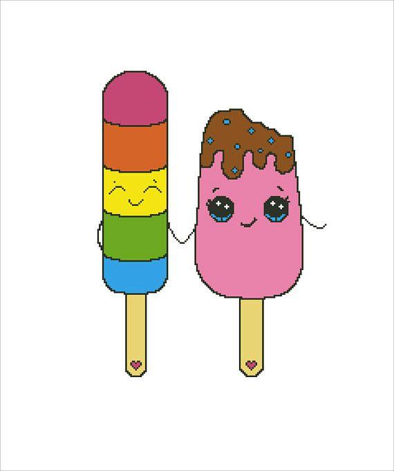 Buy 2 Get 1 Free-Ice Cream Cross Stitch Pattern-modern cross