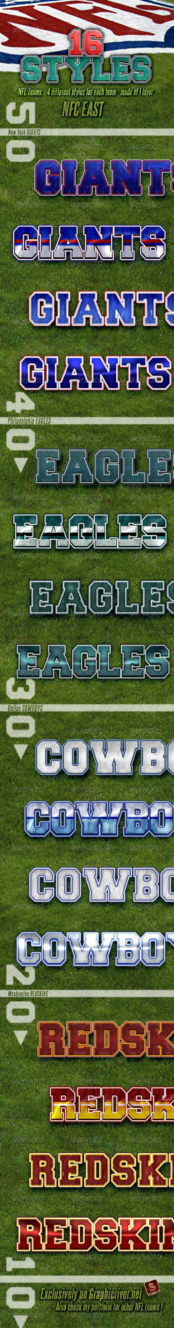 NFL Football Styles - NFC East #GraphicRiver NFL Football Photoshop Layer Styles – Part 5 NFC EAST NFL Football Photoshop layer styles –are the best for your titles, buttons, shapes, etc. Styles are usable for any Text and it also looks good on Shapes or Buttons. Don't forget to check all parts of NFL Team Styles NFL Football Layer Styles – Features All styles are made of 1 layer only Unique Styles Applicable with just one click Unique look and clean design Can be used anywhere ASL and PSD…