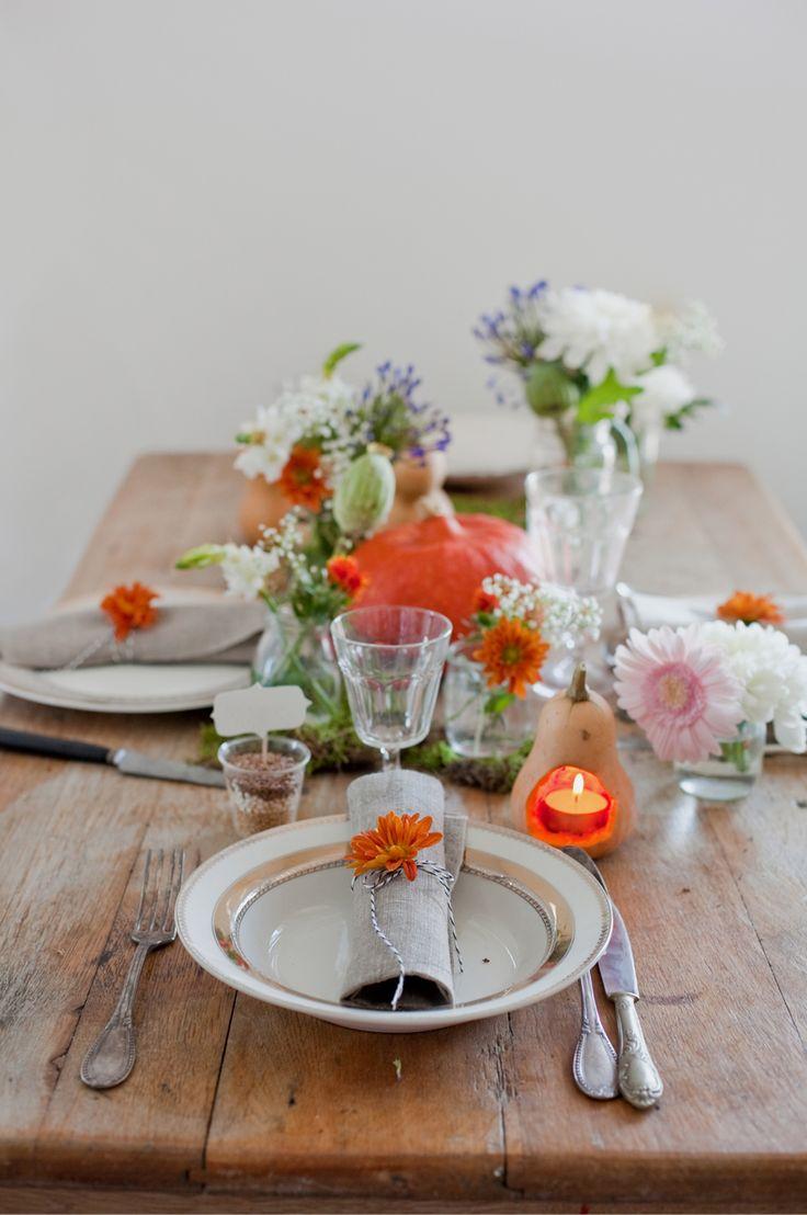 rustic orange table settings