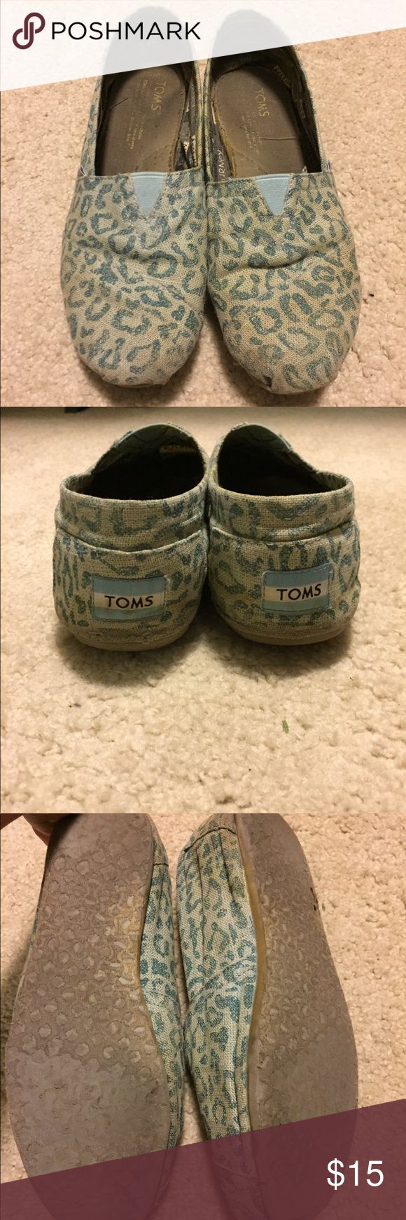 Leopard Toms These have been loved, but you can get more life out of them. No holes or weird smells. Smoke free pet free home. Bottoms are worn as shown, still comfortable though. Blue leopard print. Toms Shoes Flats & Loafers