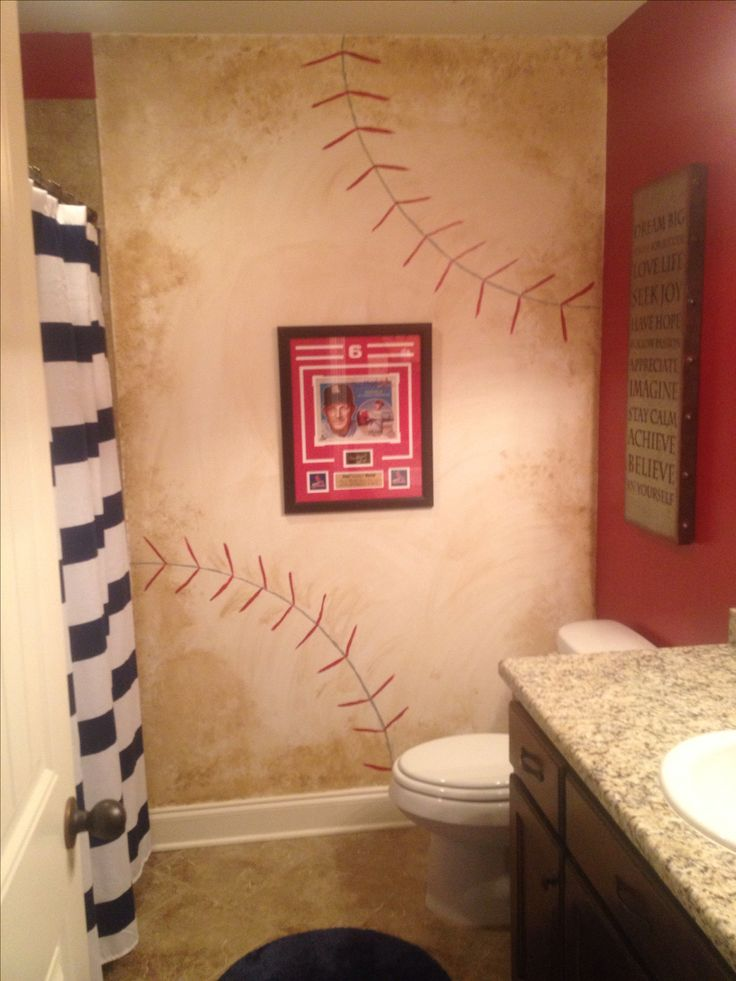 Vintage baseball bathroom.