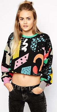 Oversized Cropped Sweatshirt With Blocks