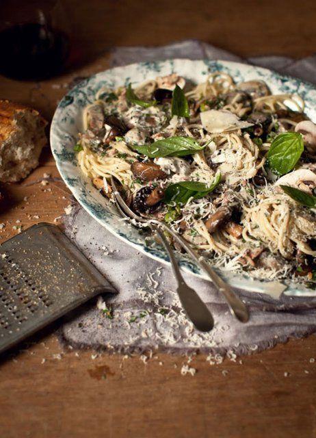 (7) Fancy - linguine with fresh mushrooms