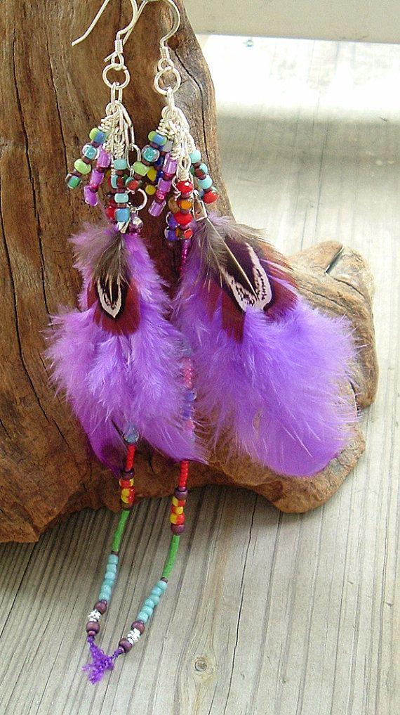 Boho Earrings Sundance Style Feather Earrings by BohoStyleMe