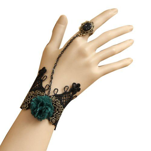 Succubus Woman Fashion Designer Classic Black Lace Bracer with Ring Luxury Accessories