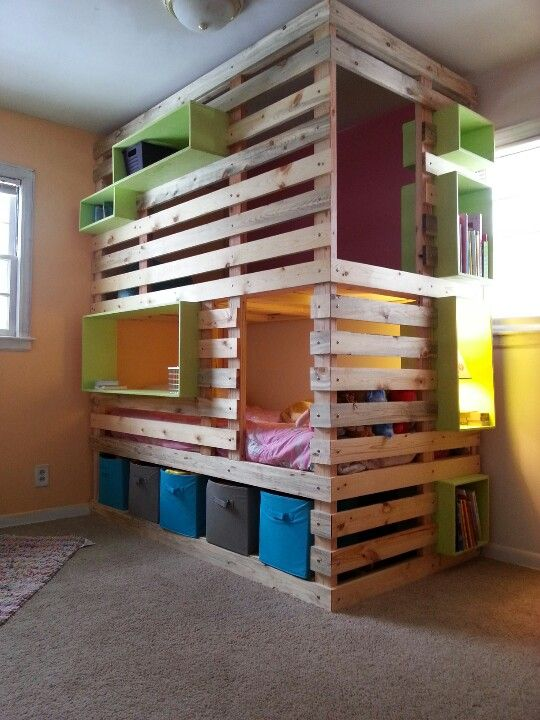 Reclaimed E In S Room Kids Bed With Storage Below Bookcases Everywhere And