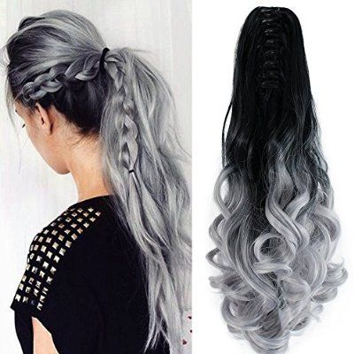 "Neverland Beauty 22"" Claw on Ombre Two Tone Synthetic Curly Wavy Ponytail Hair Extensions Natural Black to Silver Grey"