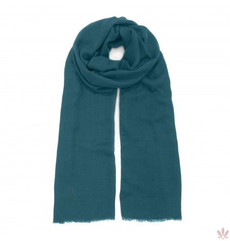 A super light and soft modal, wool, rayon & cashmere blend for a classic plain petrol scarf with fringed edges. Luxury high quality, made in Italy by Fulards free shipping.