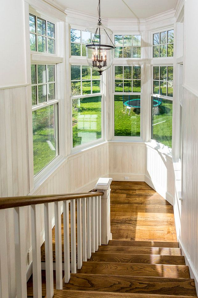 Staircase with ship lap walls. #Staircase #Shiplap Via Muskoka Cottages for Sale.