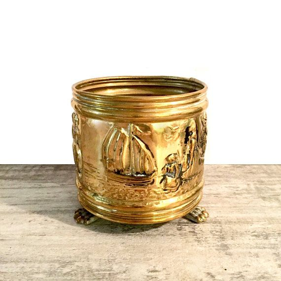 Vintage Brass Planter with Claw Feet Pressed Metal Vase and Natural Patina #Brass #Vintage #VintagePlanter #BrassPlanter