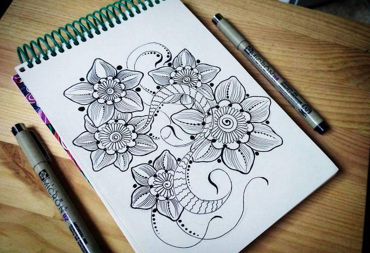 63 отметок «Нравится», 1 комментариев — Хочу быть художником... (@injurka) в Instagram: «Новый эскиз 🌸. . . . . #скетчбук #скетч #артбук #арт #иллюстрация #татудизайн #мехендидизайн…»