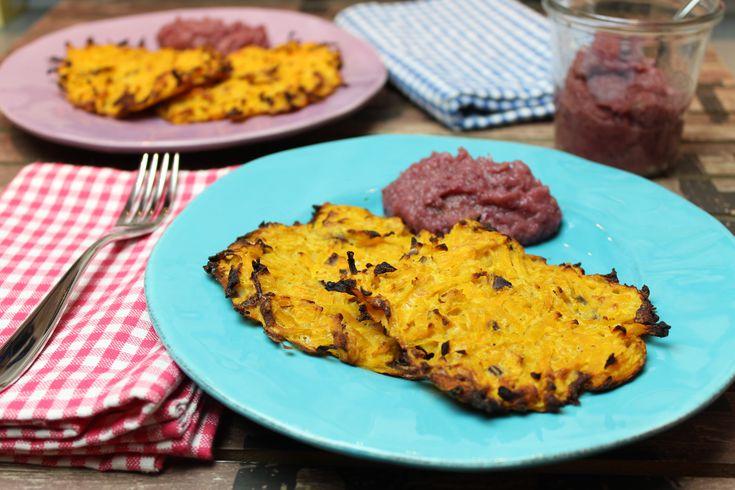 Low Carb Rezepte von Happy Carb: Kartoffelpuffer mit Apfel-Zwiebel-Konfitüre - Meine Low Carb Kartoffelpuffer bestehen überwiegend aus Kürbis.