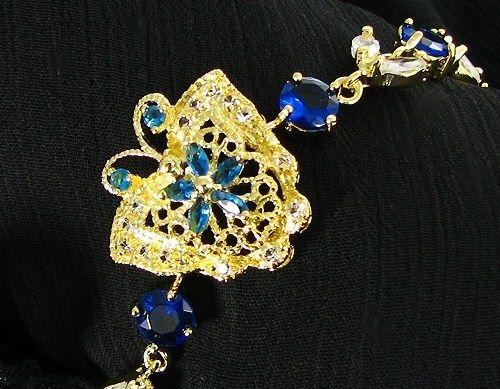 Blue Sapphire Topaz Butterfly 18K Yellow Gold Plated Tennis Bracelet
